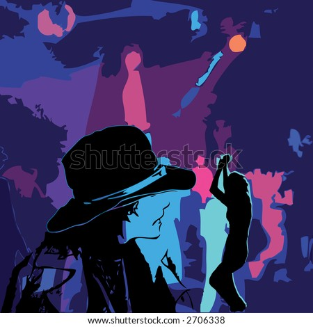 Color illustration with elements of a disco and silhouettes.