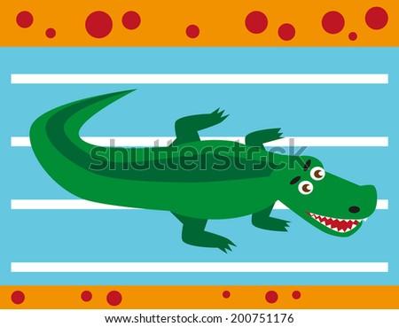 color image of funny cartoon animal crocodile - stock vector