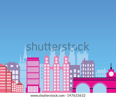 Color image of the city silhouette - stock vector
