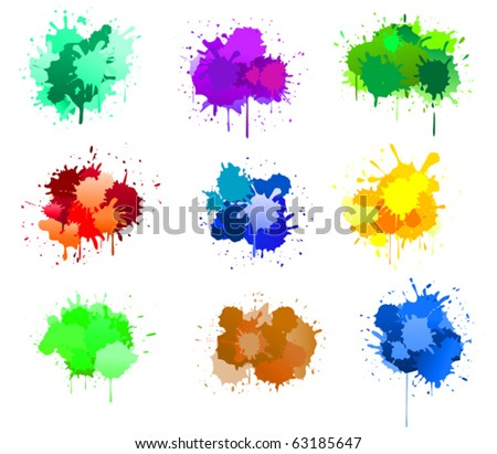 Color ink blots isolated on white for design. Jpeg version also available in gallery - stock vector