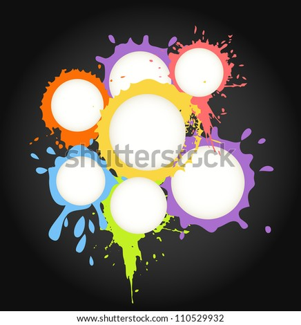 Color ink blots speech clouds abstract background - stock vector