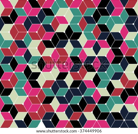 Color inspiration and ideas for home decorating Rich floral shades. Diamonds polygonal design. seamless texture pattern