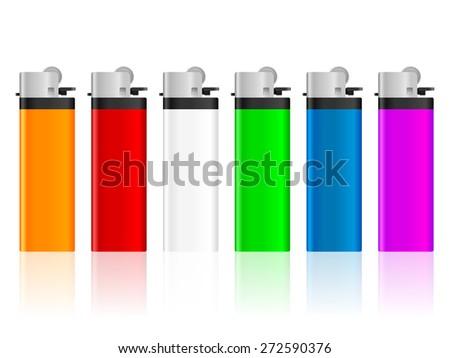 Color lighter set on a white background. Vector illustration. - stock vector