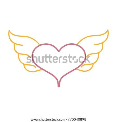 Color Line Heart Wings Symbol Love Stock Vector 770040898 Shutterstock