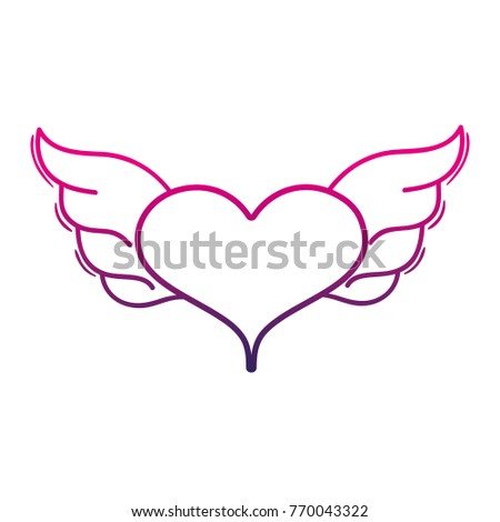 Color Line Heart Wings Symbol Love Stock Vector Royalty Free