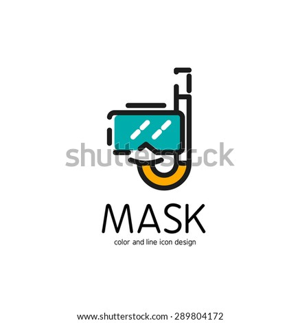 Color line icon for flat design isolated on white. Mask and snorkel - stock vector