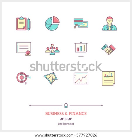 Color line icon set of business, time management objects and tools elements. Management, job project, statistic, business deal, documents, certificate, money profit. Logo icons. Vector illustration. - stock vector