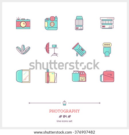 Color line icon set of photography equipment, objects and tools elements. Photography stuff, light, reflex camera, shine, lens, diffuser, bag, phonebook, flash card. Logo icons vector illustration - stock vector