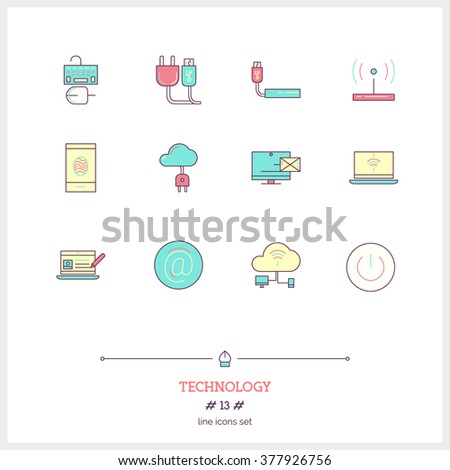 Color line icon set of technology equipment, process, objects and tools elements. Cloud technology services, global connection, network, internet data technology. Logo icons vector illustration - stock vector