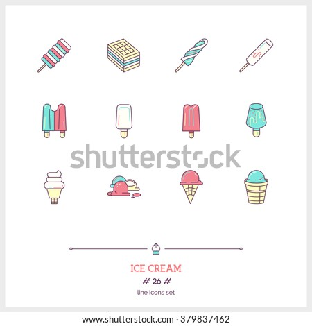 Color line icons set of Ice cream objects. Ice cream desserts, fruit ice. Logo icons vector illustration - stock vector