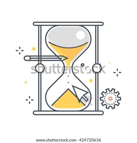 sand timer art. color line sand timer illustration art