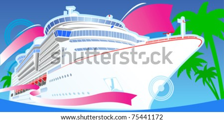 Color Luxury Cruise Big Boat. - stock vector