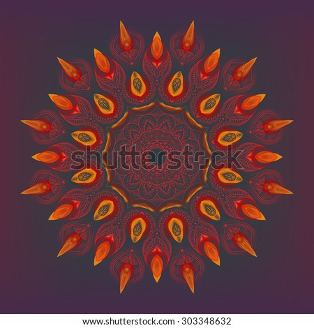 Color mandala combined with smooth, soft abstract wavy shapes. - stock vector