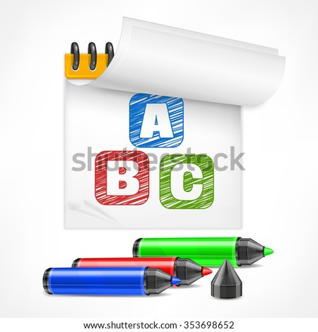 Color marker and letters symbol in notepad, vector illustration
