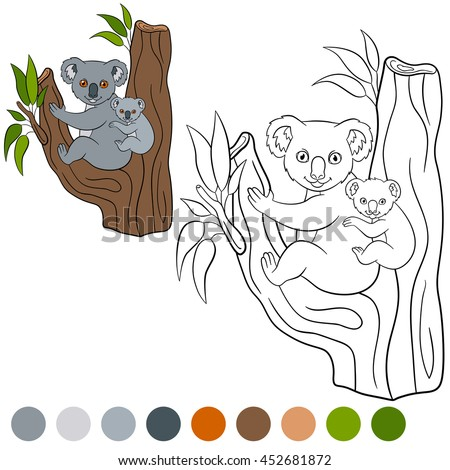 Color me: koala. Mother koala sits with her little cute baby on the tree branch and smiles.