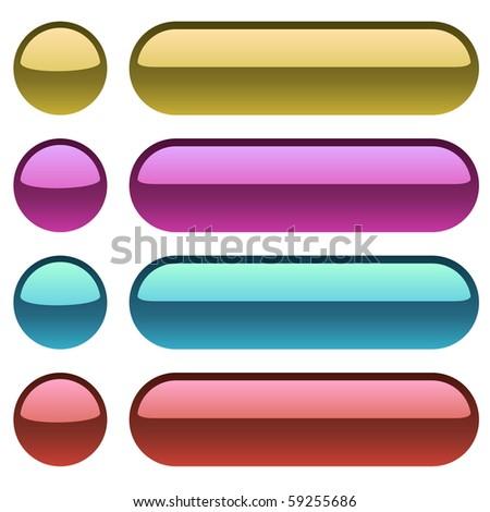 Color metallic buttons for web design. - stock vector