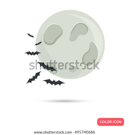 Color moon and bats in Cartoon style. Stock Vector icon. Illustration for web and mobile design