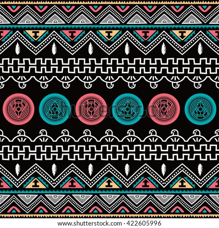 color native ethnic seamless pattern theme vector art illustration