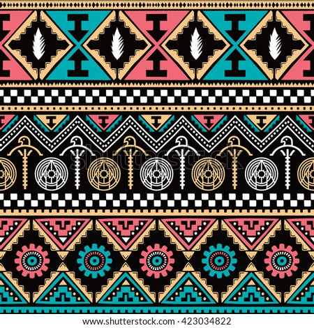 color native ethnic seamless pattern theme vector art illustration - stock vector