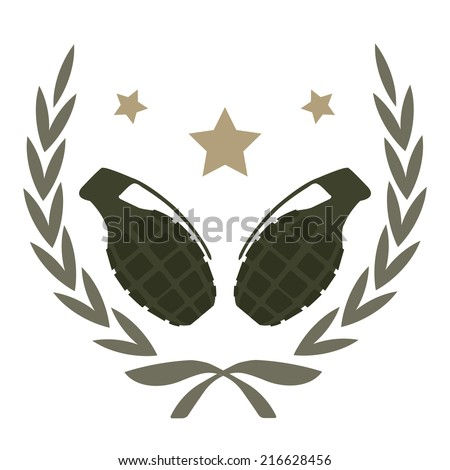 Color, no outline,  logo isolated on white with 2 grenades and stars in laurel wreath frame  - stock vector