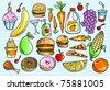 Color Notebook Doodle Sketch Tasty Food Vector Illustration Set - stock vector