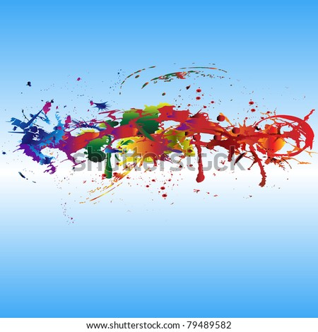 Color paint splashes. - stock vector