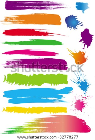 Color paint splashes and line brushes. Vector - stock vector