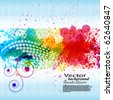 Color paint splashes. Gradient vector background on blue and white stripe background. EPS10 - stock