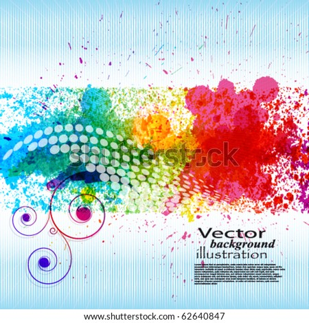 Color paint splashes. Gradient vector background on blue and white stripe background. EPS10 - stock vector
