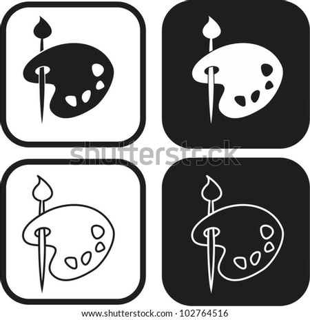 Color palette and artistic brush  icon - stock vector