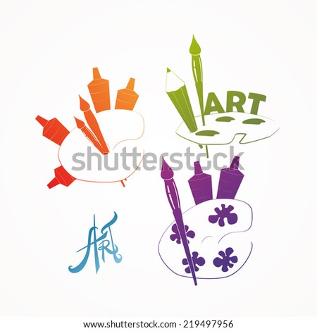Color palette and artistic brush icons, - stock vector