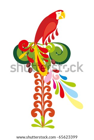color parrot on white background - stock vector