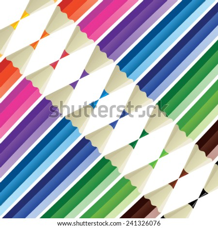 Color pencil texture - color pencils in a row and isolated from background - stock vector