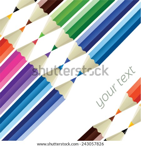 Color pencil texture - color pencils in a row and isolated from background - with place for your text - stock vector