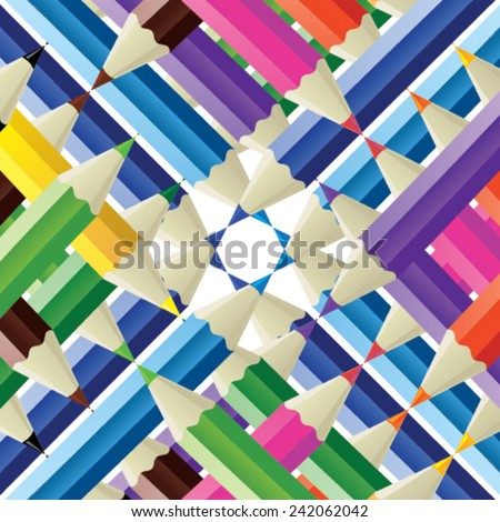 Color pencil texture - color pencils on each other - stock vector