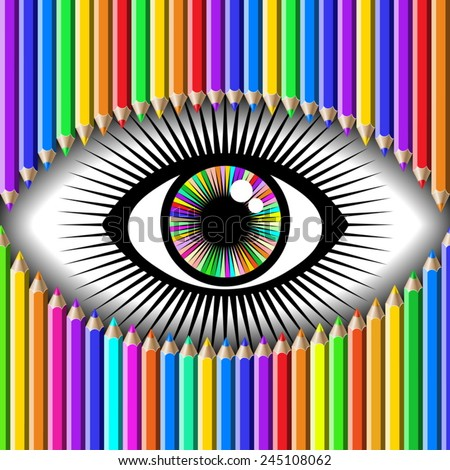 color pencils and open human eye - stock vector