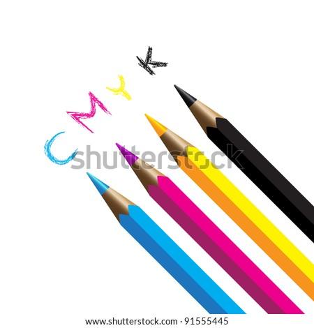 Color pencils cmyk four color process cyan magenta yellow black - stock vector