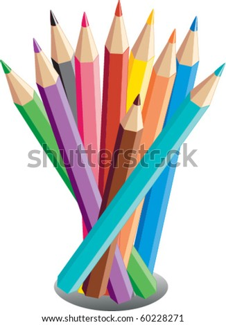 Color pencils illustration - stock vector