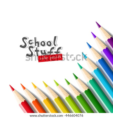 Color pencils isolated on white background.Close up. School equipment for painting and art. Vector realistic illustration. - stock vector