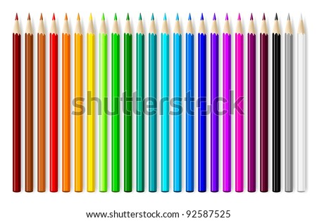 Color pencils set on white background. - stock vector