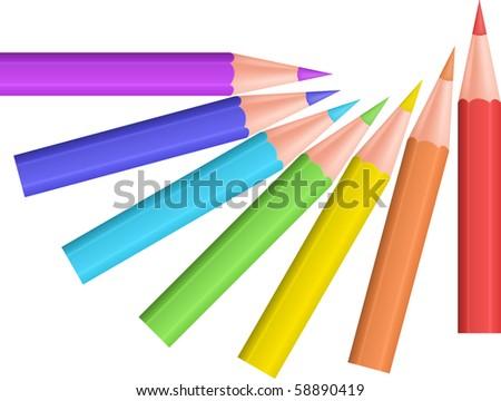 Color pencils. Vector illustration. - stock vector