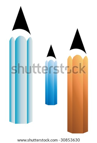 color pencils vector isolated on white - stock vector