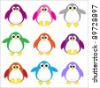 Color penguins clip art - stock vector