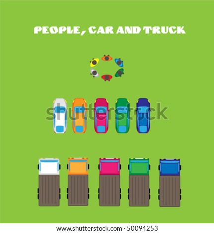 Color people, car and truck. Top view. - stock vector