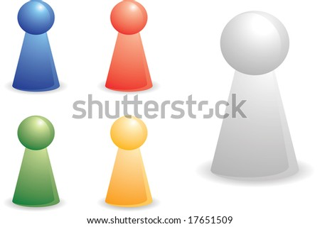 color person plastic pieces for abstract concept - stock vector