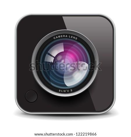 Color photo camera icon - stock vector