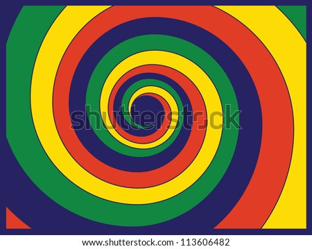 color picture in a spiral on a blue background / spiral - stock vector
