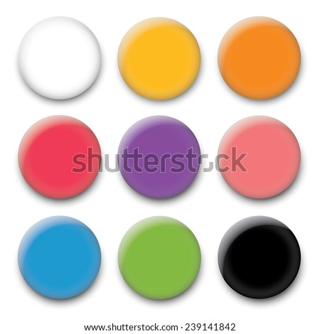 Color pin magnet - stock vector