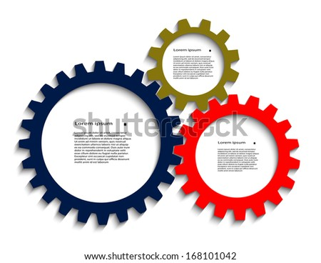 color pinion gears with a place for your text - stock vector