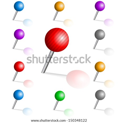 Color pins - stock vector